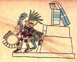 Huitzilopochtli Standing Before A Teocalli