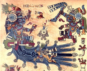 Tlaloc Seated on a Mountain Issuing Water, Plate 7 of the Codex Borbonicus